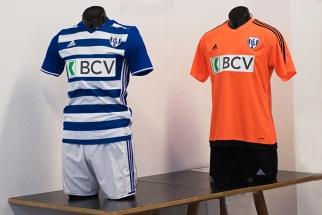 Les nouveaux maillots (domicile/extérieur) du LS de la saison 2016-2017 ont été exposés lors de la conférence de presse d'avant-saison. © Oreste Di Cristino