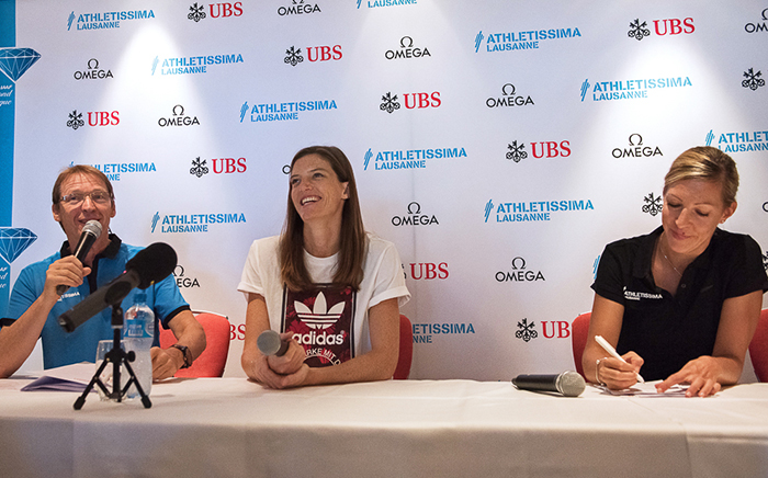 Lea Sprunger, coureuse des 400 mètres haies, en conférence de presse d'Athletissima 2016 mercredi matin 24 août. © Oreste Di Cristino