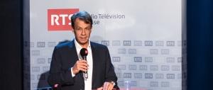 Gilles Marchand, directeur de la Radio Télévision Suisse (RTS) en conférence de presse jeudi 25 août 2016 à La Sallaz. © Oreste Di Cristino