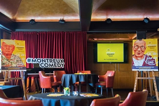 Le Funky Claude's Bar au Fairmont Montreux Le Palace pour la conférence de presse du Montreux Comedy Festival. © Oreste Di Cristino