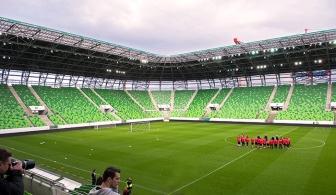 La Groupama Aréna, 24 heures avant le coup d'envoi de la rencontre face à la Hongrie. © Oreste Di Cristino