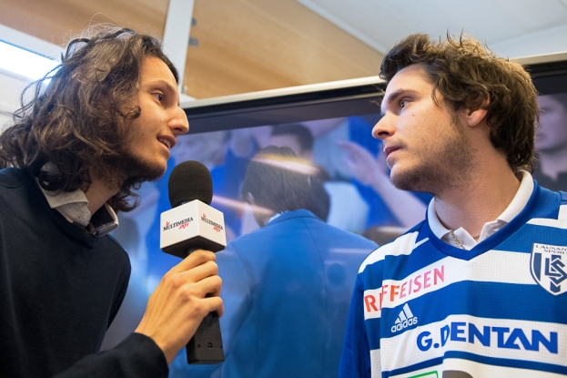 Alexandre Jaumin, alias Sherkan, en interview au Stade de la Pontaise, à Lausanne. © Oreste Di Cristino / leMultimedia.info