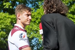 Interview d'après-match avec Jonathan Torossian (SRC). © Oreste Di Cristino / leMultimedia.info