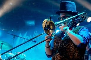Yannou au trombone à Montreux lors du set de Funky Style Brass. © Oreste Di Cristino / leMultimedia.info