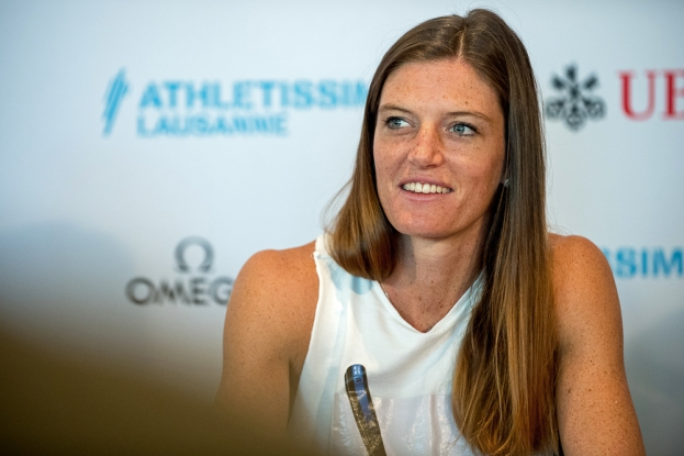Lea Sprunger en conférence de presse à Ouchy. © Oreste Di Cristino / leMultimedia.info