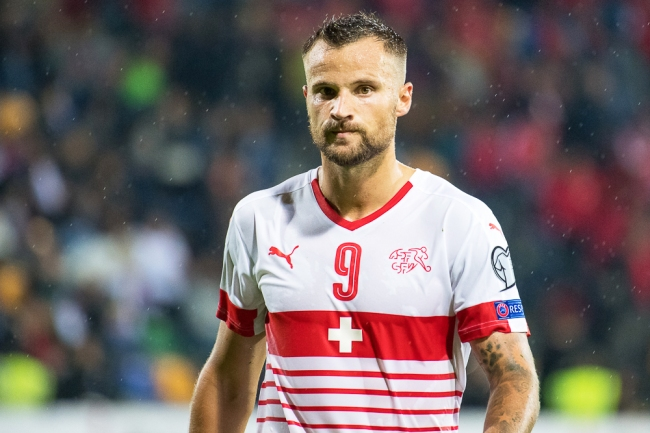 Haris Seferovic a encore marqué avec la Suisse à Riga (9e). © Oreste Di Cristino / leMultimedia.info