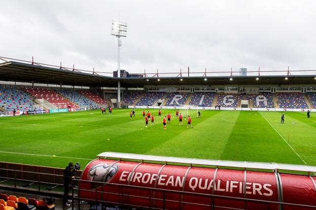 Le Skonto Stadium de Riga à l'heure de l'entraînement de l'Équipe de Suisse, 24 heures avant la rencontre. © Oreste Di Cristino / leMultimedia.info