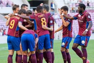 Les Grenat fêtent le premier but de Stevanovic face au FC Schaffhouse (20e). © Oreste Di Cristino / leMultimedia.info