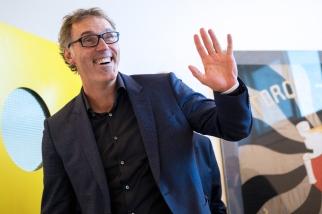 Souriant, Laurent Blanc est revenu sur les étapes nombreuses de sa carrière de joueur et d'entraîneur. © leMultimedia.info / Oreste Di Cristino