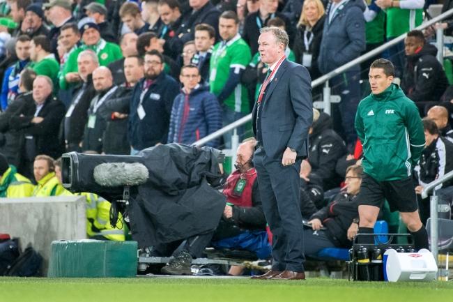 Michael O'Neill, sélectionneur de l'Irlande du Nord au Windsor Park de Belfast. © leMultimedia.info / Oreste Di Cristino