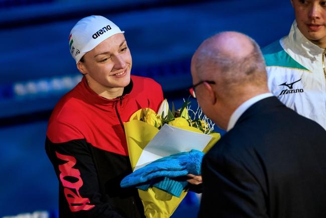 La six fois médaillée d'or européenne Katinka Hosszu distinguée dans la piscine de Mon-Repos. © leMultimedia.info / Oreste Di Cristino