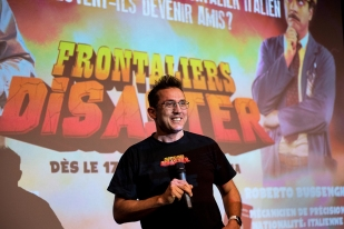 """Le producteur Luca Morandini. « """"Frontalier Disaster"""" peut être le premier film d'une folle trilogie. Après """"Disaster"""", l'on a imaginé un second intitulé """"Frontaliers Catastrophe"""" ou encore un dernier nommé """"Frontaliers Apocalypse"""". » © leMultimedia.info / Oreste Di Cristino"""