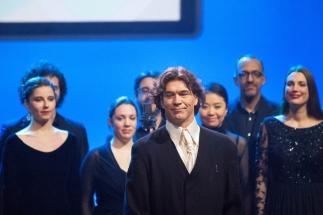 L'Opéra de Lausanne a interprété en direct le nouvel hymne de l'UEFA Nations League. Il était dirigé par Franck Van Der Heijden, co-compositeur de l'hymne. © leMultimedia.info / Oreste Di Cristino