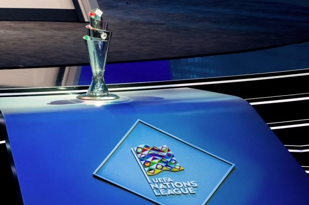 L'identité de la nouvelle compétition européenne. Le drapeau du logo et la Coupe qui sera soulevée par l'équipe championne au mois de juin 2019. © leMultimedia.info / Oreste Di Cristino