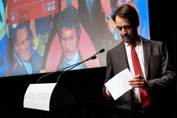 Le directeur de la RTS, Pascal Crittin, a rappelé la force des archives au Musée Olympique de Lausanne. © leMultimedia.info / Oreste Di Cristino