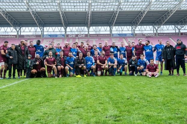 Les deux équipes ont montré bon rugby et fair-play au Stade de Genève. © leMultimedia.info / Oreste Di Cristino