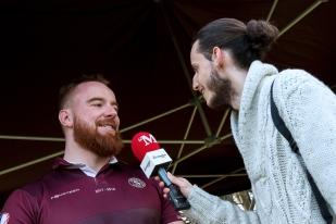 Interview de fin de match à Mathias Bernath-Yendt, auteur de deux essais dimanche à Vessy (3e et 67e). © leMultimedia.info / Oreste Di Cristino