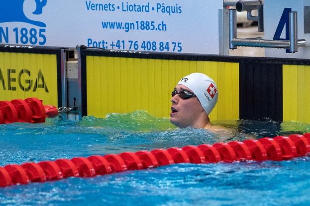 La finale du 50m brasse a vu Yannick Käser l'emporter sur Jolann Bovey (hors de la photo). © leMultimedia.info / Oreste Di Cristino