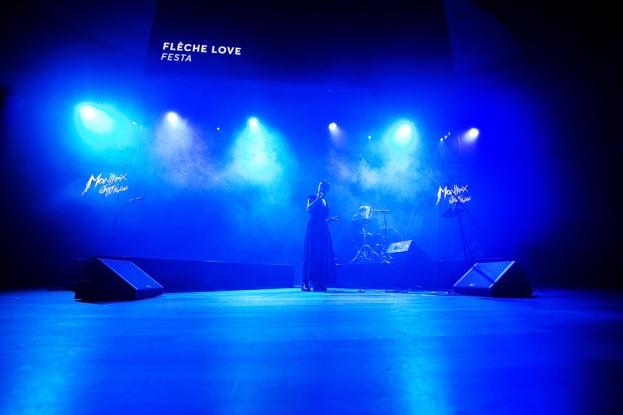 Flèche Love a embrasé la salle du Petit Palais – future House of Jazz durant le festival – lors de la conférence de presse. © leMultimedia.info / Oreste Di Cristino