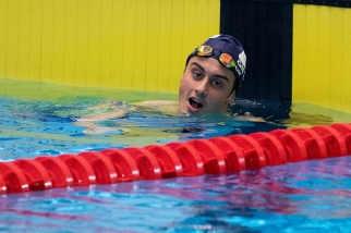 Nicolas Zoulalian a terminé sur la dernière marche du podium sur le 100m nage libre. © leMultimedia.info / Oreste Di Cristino