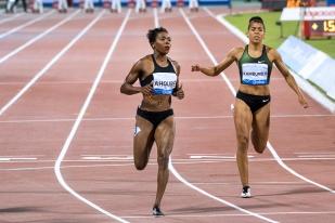 L'Ivoirienne Murielle Ahouré (à gauche) n'a terminé que 5e devant la Sud-Africaine Carina Horn (5e). La Néerlandaise Dafne Schippers a, quant à elle, terminé au 6e rang, devant Mujinga Kambundji (à droite). © leMultimedia.info / Oreste Di Cristino