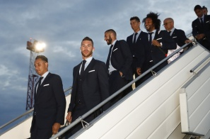 KIEV, UKRAINE - MAY 24: Sergio Ramos, Karim Benzema, Cristiano Ronaldo and Marcelo of Real Madrid arrive ahead of the UEFA Champions League Final at KBP Airport on May 24, 2018 in Kiev, Ukraine. (Photo by UEFA/UEFA via Getty Images)