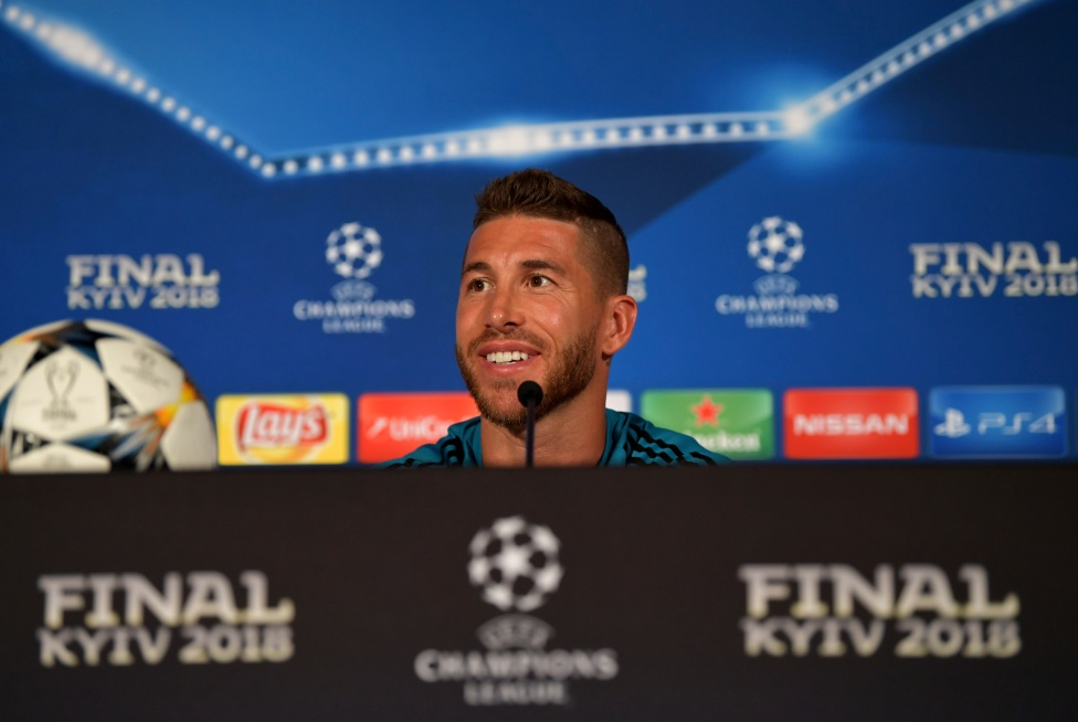 KIEV, UKRAINE - MAY 25: In this handout image provided by UEFA Sergio Ramos of Real Madrid looks on during a Real Madrid press conference ahead of the UEFA Champions League Final against Liverpool at NSC Olimpiyskyi Stadium on May 25, 2018 in Kiev, Ukraine. (Photo by UEFA/UEFA via Getty Images) *** Local Caption *** Sergio Ramos