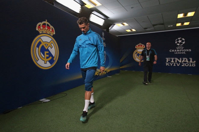 KIEV, UKRAINE - MAY 25: In this handout image provided by UEFA, Ronaldo of Real Madrid makes his way out to the pitch ahead of a training session ahead of the UEFA Champions League Final against Real Madrid at NSC Olimpiyskyi Stadium on May 25, 2018 in Kiev, Ukraine. (Photo by Steve Basrdens/UEFA via Getty Images) *** Local Caption *** Ronaldo