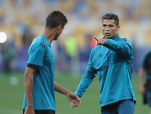 KIEV, UKRAINE - MAY 25: Cristiano Ronaldo points during the Real Madrid Training Session during the UEFA Champions League final between Real Madrid and Liverpool on May 25, 2018 in Kiev, Ukraine. (Photo by Christopher Lee - UEFA/UEFA via Getty Images) *** Local Caption *** Cristiano Ronaldo