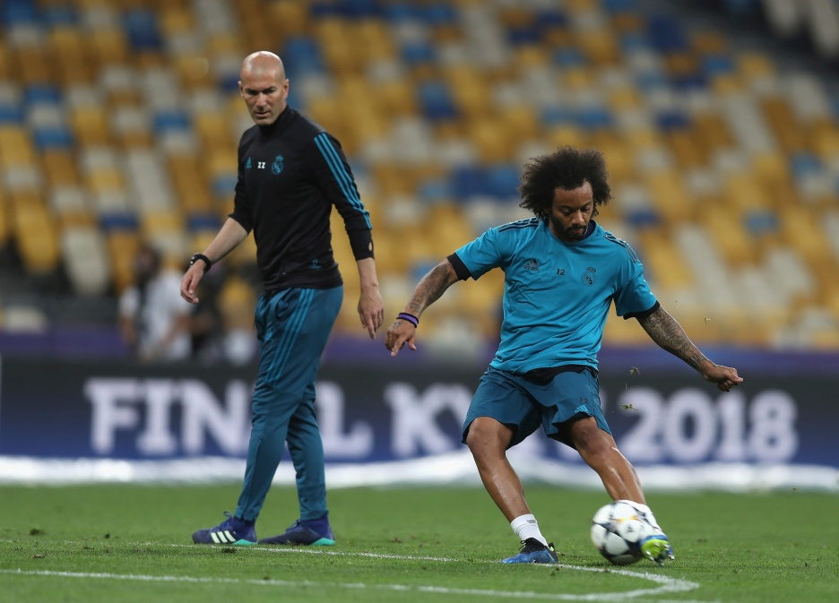 KIEV, UKRAINE - MAY 25: Marcelo in action during the Real Madrid Training Session during the UEFA Champions League final between Real Madrid and Liverpool on May 25, 2018 in Kiev, Ukraine. (Photo by Christopher Lee - UEFA/UEFA via Getty Images) *** Local Caption *** Marcelo