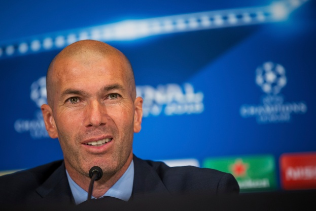 KIEV, UKRAINE - MAY 26: Real Madrid coach Zinedine Zidane speaks to the media during the press conference of the UEFA Champions League final between Real Madrid and Liverpool on May 26, 2018 in Kiev, Ukraine. (Photo by Joosep Martinson - UEFA/UEFA via Getty Images)