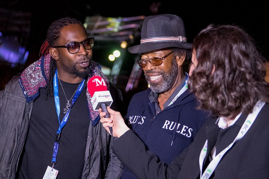 Cameron Kimbrough (à gauche) et RL Boyce en interview avec leMultimedia.info à Crissier. © leMultimedia.info / Oreste Di Cristino