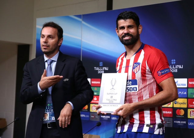 Diego Costa a été élu homme du match lors de la finale de la Super Coupe d'Europe à Tallinn, en Estonie. © Joosep Martinson - UEFA/Getty Images