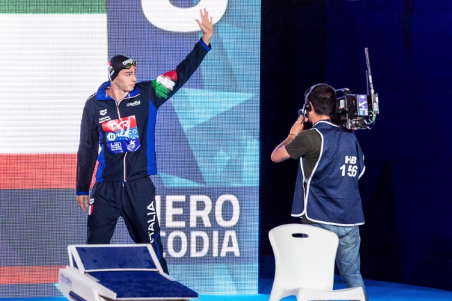 Piero Codia s'est qualifié avec le huitième temps des demi-finales du 100 mètres papillon mercredi après-midi. © leMultimedia.info / Oreste Di Cristino [Glasgow]