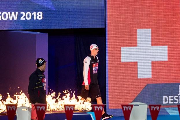 Entré sous les flammes et les couleurs de l'étendard suisse, Jérémy Desplanches a dominé ses adversaires (presque) de bout en bout. © leMultimedia.info / Oreste Di Cristino [Glasgow]