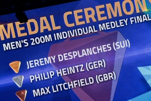 """Jérémy Desplanches a remporté sa finale en 1'57""""04, ce qui reste un temps « moyen », juge-t-il. © leMultimedia.info / Oreste Di Cristino [Glasgow]"""