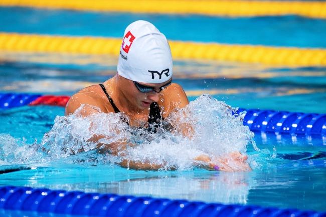 """La Zürichoise Lisa Mamié avait réussi une belle passe le matin lors des qualifications du 200m brasse. Mais elle a manqué sa demi-finale pour terminer à un temps très loin de ses ambitions de record de Suisse (2'29""""25). © leMultimedia.info / Oreste Di Cristino [Glasgow]"""