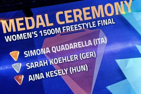 """La Hongroise Ajna Kesely, adversaire redoutée de Quadarella sur les 800m samedi dernier, a terminé troisième sur les 1500m en 16'03""""62, la première au classement à dépasser les 16 minutes au compteur. © leMultimedia.info / Oreste Di Cristino [Glasgow]"""