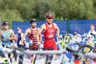 Andrea Salvisberg a réalisé le premier temps sur la natation, ce qui lui a permis d'aborder plus sereinement le vélo. © leMultimedia.info / Oreste Di Cristino [Strathclyde]