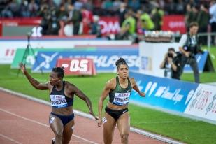 C'est au prix d'une formidable cassé sur la finish line que l'Ivoirienne Murielle Ahouré a offert à la Côte d'Ivoire sa première Ligue de Diamant sur un sprint féminin. © leMultimedia.info / Oreste Di Cristino [Zürich]