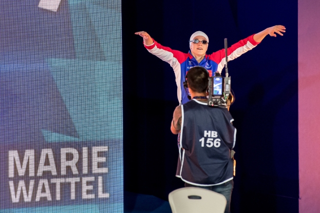 Marie Wattel disputait mercredi soir sa toute première finale européenne sur les mêmes 100 mètres nage libre mais son épopée continentale à Glasgow ne lui a pas offert les satisfactions dont elle espérait en quittant le continent. © leMultimedia.info / Oreste Di Cristino [Glasgow]