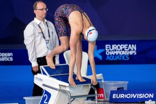 """« On ne peut pas dire que j'ai manqué mes championnats, je ne veux pas me plaindre. On fait des temps en relai qu'on arrive parfois pas à refaire en individuelle. Mais j'espérais mieux. » Marie Wattel a terminé 7e de sa finale du 100 mètres en 54""""52, juste devant la jeune Danoise de 20 ans Signe Bro et à 1""""59 de Sarah Sjöström. © leMultimedia.info / Oreste Di Cristino [Glasgow]"""