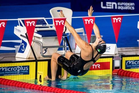 « Tout va très bien. C'est un moment où tout fonctionne parfaitement ces derniers temps », ajoutait-elle alors au sortir du bassin au Tollcross International Swimming Centre de Glasgow. © leMultimedia.info / Oreste Di Cristino [Glasgow]