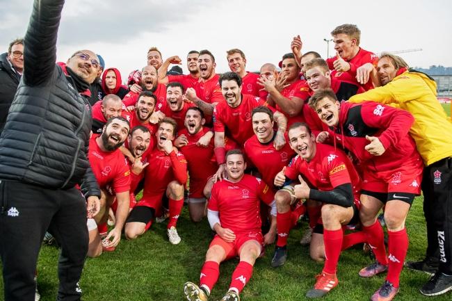 L'Équipe de Suisse de rugby a assuré une victoire d'importance samedi après-midi face à la République Tchèque, validant ainsi une première victoire pour leur première rencontre de la saison en Europe Trophy. © leMultimedia.info / Oreste Di Cristino [Yverdon-les-Bains]