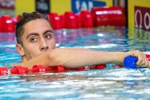 Pas aligné sur sa distance – pourtant – de prédilection des 50 mètres dos, Jordan Pothain est passé à côté de sa deuxième finale de la soirée sur les 100 mètres nage libre (6e). © leMultimedia.info / Oreste Di Cristino [Lausanne]