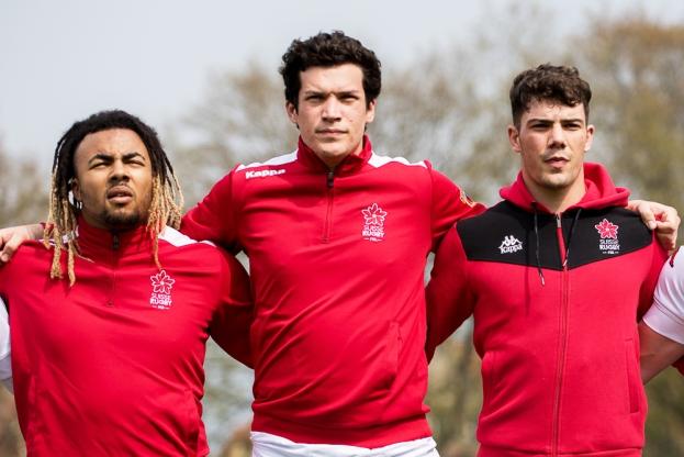 Nathan Pelsy et les deux Stadistes de Lausanne, Nicolas Lugeon (au centre) et Axel Goudet (à droite). © leMultimedia.info / Oreste Di Cristino [Schaffhouse]
