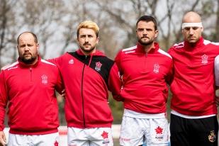 Alexandre Cavieze (au centre à gauche) a déjà connu un essai avec la Suisse lors de l'amical contre la Côte d'Ivoire en février. Geoffrey Pelletier (au centre à gauche), en revanche, connaît également sa première absolue avec le XV de l'Edelweiss. © leMultimedia.info / Oreste Di Cristino [Schaffhouse]
