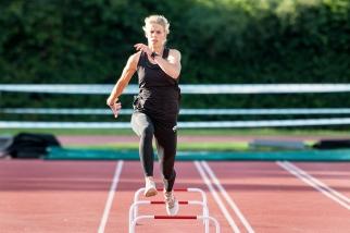 La Bernésienne de 26 ans en plein entraînement sur le sautoir du centre sportif des Évaux, son antre de prédilection dans le Grand Genève. © leMultimedia.info / Oreste Di Cristino [Bernex]