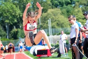 Annik Kälin (AJ TV Landquart) a été sacrée championne de Suisse samedi lors de son dernier saut de la série, en 6,24m. © leMultimedia.info / Oreste Di Cristino [Bâle]