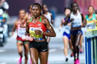 « Je m'entraîne avec un groupe d'hommes et de femmes, nous sommes une vraie équipe nationale de marathon. Nous avons une telle organisation dans la team que nous arrivons à ménager nos forces et nos esprits pour parvenir à réaliser de telles courses abouties », assurait-elle au terme de sa course. © leMultimedia.info / Oreste Di Cristino [Doha]